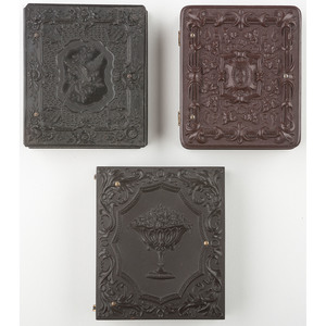 Three Rare and Scarce Floral Union Cases, One Containing Tintype of Young Girl with CDV Album [Berg 2-87, 2-96, 2-136]