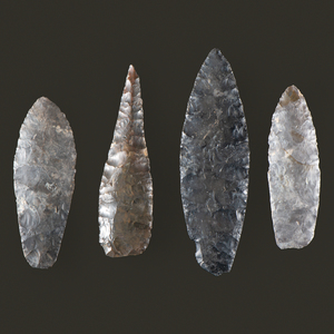 Four Coshocton Flint, Paleo Lances, From the Collection of Jon Anspaugh, Wapakoneta, Ohio