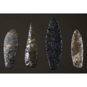 Four Coshocton Flint, Paleo Lances, From the Collection of Jon Anspaugh, Wapakoneta, Ohio