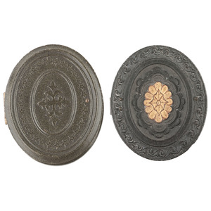 Two Ninth Plate Oval Union Cases with Geometric Designs, One Unique Example and One with Gilt Details [Berg 3-429a, 3-435G]