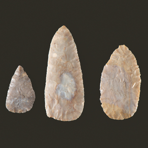 Three Adena Flint Ridge, Leaf-Shaped Blades, From the Collection of Jon Anspaugh, Wapakoneta, Ohio