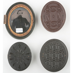 Four Ninth Plate Geometric Union Cases, Including Scarce Green Example Containing Tintype of Civil War Soldier [Berg 3-412a, 3-421, 3-436, 3-438]