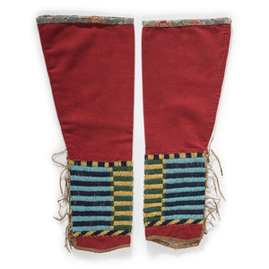 Cheyenne Beaded Hide and Wool Leggings, Property of a Private Midwest Museum
