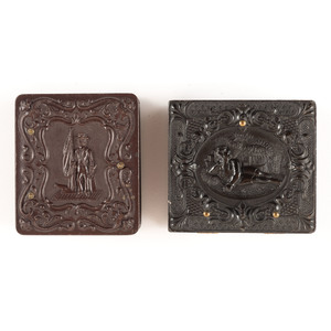 Rare Pair of Sixteenth Plate Figural Union Cases Containing Daguerreotypes, Including Young Sailor [Berg 1-177, 1-198]