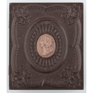 Rare Ninth Plate Geometric Union Case with Cameo Center Containing Tintype of African American Children [Berg 3-260C1]
