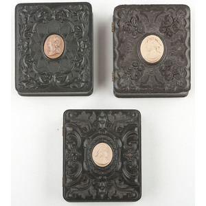 Three Rare Ninth Plate Geometric Union Cases with Cameo Centers Containing Daguerreotypes of Women and Children [Berg 3-283C3, 3-284C3, 3-287C3]