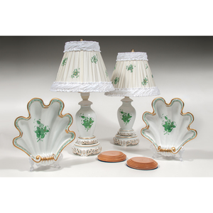 Herend Lamps and Shell Dishes, Chinese Bouquet Green, Plus