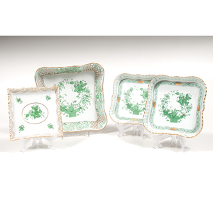 Herend Reticulated Square Trays, Indian Basket and Chinese Bouquet Green
