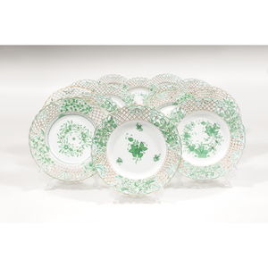 Herend Pierced Plates, Chinese Bouquet, Indian Basket, and Forest Green