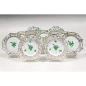 Herend Plates, Chinese Bouquet Green