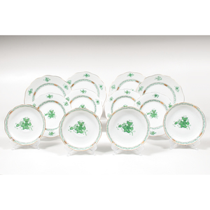 Herend Plates and Saucers, Chinese Bouquet Green