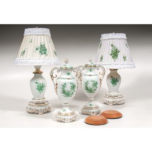Herend Vases and Lamps, Indian Basket and Chinese Bouquet Green, Plus