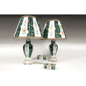 Herend Lamps and Pair Lidded Boxes, Black Dynasty