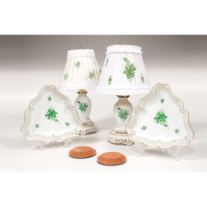 Herend Lamps and Dishes, Chinese Bouquet Green, Plus