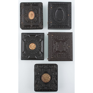 Five Rare Ninth Plate Geometric Union Cases with Gilt Designs, Containing Portraits of Children [Berg 3-245G, 3-247G, 3-265, 3-278RG, 3-356]