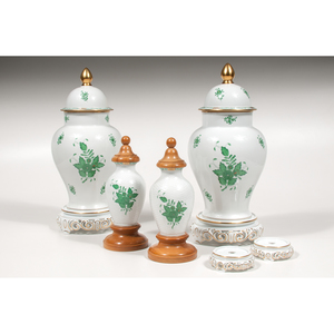Herend Covered Urns, Chinese Bouquet Green, Plus
