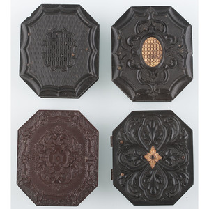 Four Rare Ninth Plate Octagonal Union Cases with Geometric Designs [Berg 3-387G, 3-388, 3-402G, 3-567]