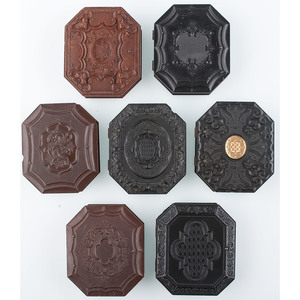 Seven Scarce Ninth Plate Octagonal Union Cases, Including Floral and Geometric Designs, Some with Gilt [Berg 2-102, 3-389, 3-391, 3-392G, 3-400, 3-403, 3-566]