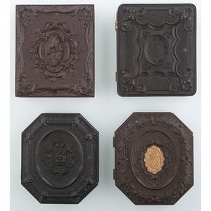 Four Ninth Plate Union Cases Containing Images of Pets, Including Cat Example [3-286, 3-325, 3-373, 3-566G]