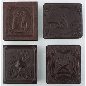 Four Scarce Sixth Plate Figural Union Cases [Berg 1-54, 1-67R, 1-85, 1-97]
