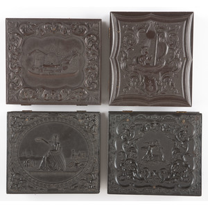 Four Scarce Sixth Plate Figural Union Cases [Berg 1-65, 1-67S, 1-83S, 1-91], Containing Daguerreotypes