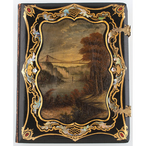 Unique Whole Plate Papier Mache Case with Mother of Pearl Inlay and Hand Painting, Suspension Bridge over Niagara Falls [Berg 6-225]