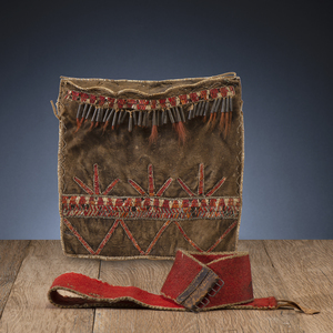 Delaware / Ottawa Black-Tanned Hide Bag and Wool Belt