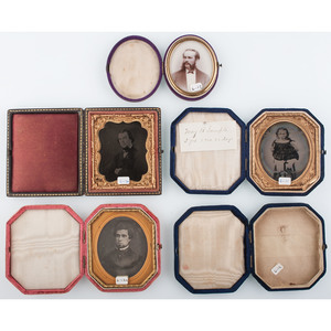 Five Assorted Sixth and Ninth Plate Velvet Cases, Including Rare Examples [Berg 6-11a, 6-12a-1, 6-12a1, 6-13a, 6-17a]