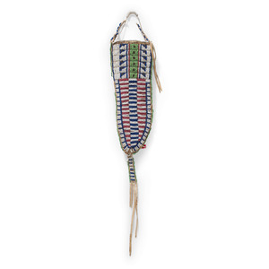 Sioux Beaded Hide Knife Sheath with Recycled Parfleche Lining