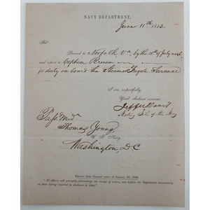 Extremely Rare DS by Jefferson Davis as Acting Secretary of the Navy, 1853