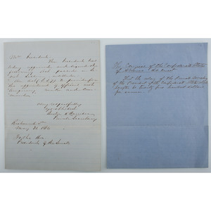 Two Documents Associated with Jefferson Davis' Personal Secretary