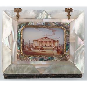 Unique Quarter Plate Mother of Pearl Case with Painting Under Glass, and Palais Bourbon Paris, France [Berg 6-365]
