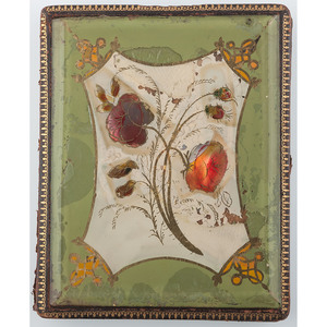 Unique Quarter Plate Case with Painting Under Glass, Flowers [Berg 6-646]