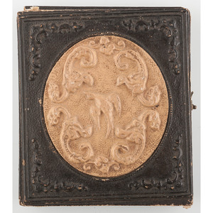 Very Very Rare Sixth Plate Paper Case with Lacquered Papier Mache Cameo, Serpentine Cameo [Berg 5-29]