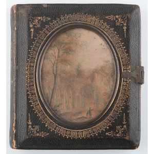 Very Very Rare Sixth Plate Leather and Paper Case with Hand Painted Scene and Gilt Design, In the Forest [Berg 5-100G]