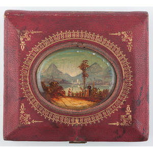 Unique Sixth Plate Leather and Paper Case with Hand Painted Scene and Gilt Design, Road to the Lake 1 [Berg 5-26Ga]