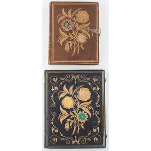 Half Plate and Quarter Plate Floral Leather and Paper Cases with Gilt Designs [Berg 5-2G, 5-82Ga], Including a Very Rare Example