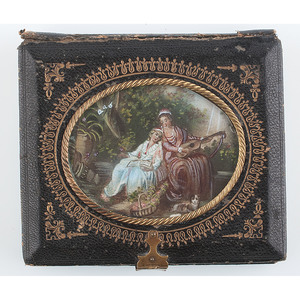 Unique Sixth Plate Leather and Paper Case with Hand Painted Scene and Gilt Design, Afternoon in the Garden [Berg 5-140G]