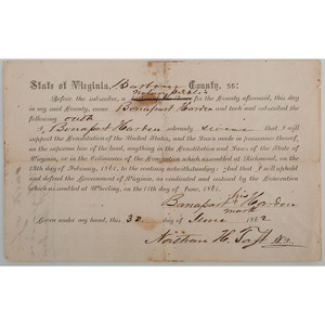 Oath of Loyalty to the Union Administered to Virginian Bonapart Harden, June 1862