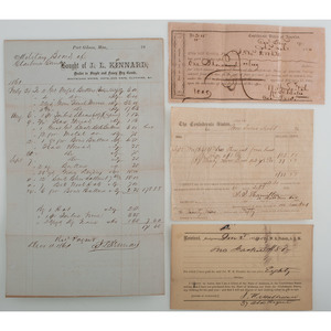 CSA Financial Documents, Incl. Receipts for Alabama Army Uniforms and Bonds, Texas Tax Sale Deed, and More
