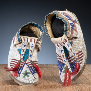 Sioux Beaded Hide Moccasins with American Flags