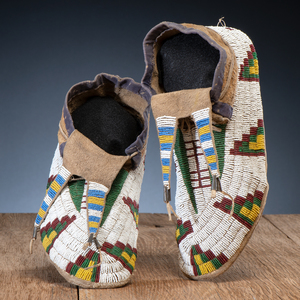 Sioux Beaded Hide Moccasins, From the Collection of Richard A. Pohrt, Sr.
