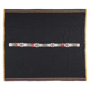 Sioux Beaded Hide Blanket Strip on Wool Blanket
