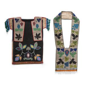 Anishinaabe Beaded Bandolier Bag, Breechcloth, and Collar