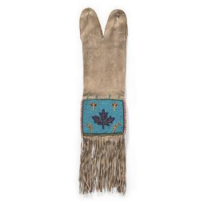 Plains Cree Beaded Hide Tobacco Bag