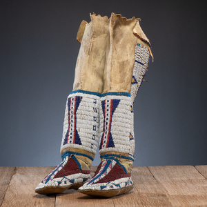 Southern Cheyenne Beaded Hide Boot Moccasins