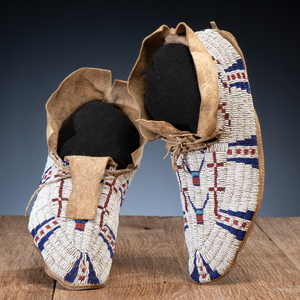 Cheyenne Beaded Hide Moccasins