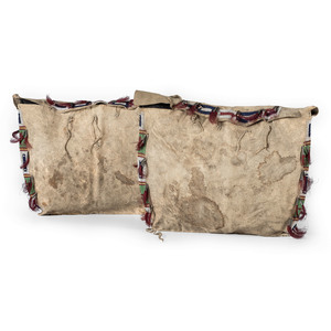Sioux Beaded Hide Possible Bags, Matched Pair