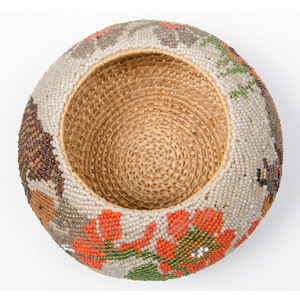 Paiute Pictorial Beaded Lidded Basket, Deaccessioned From the Hopewell Museum, Hopewell, NJ