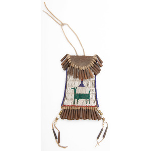 Southern Plains Beaded Strike-a-Light Bag, with Cross and Deer